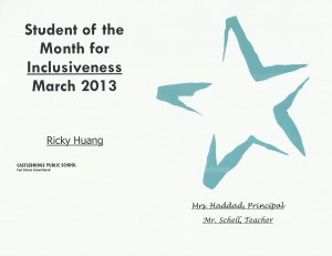 Student of the Month 2013-03