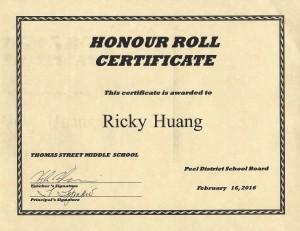 Honour Roll 2016